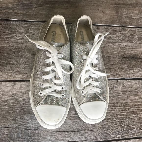 Women Silver Glitter Converse Shoes on Poshmark